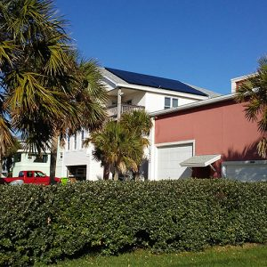 Solar panels on a home in Jacksonville Beach